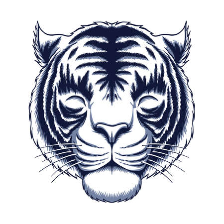 White tiger head vector illustration for company or your brand