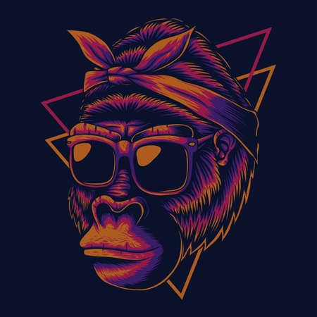 Mother gorilla eyeglasses vector illustration for your company or brand