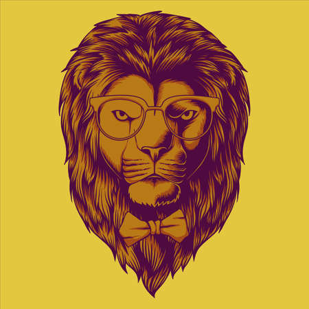 Hipster Lion head vector illustration for your company or brand