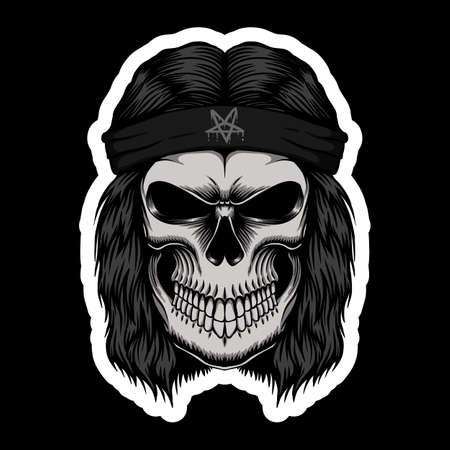 Skull Rocker head stickers vector illustration for your company or brand Ilustración de vector