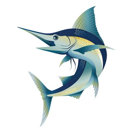 flying blue marlin sword sail fish illustration