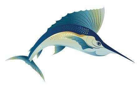 Swimming blue marlin sword sail fish illustration Illustration