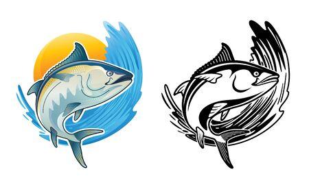 Tuna Blackfin Vector Illustration jump in ocean tuna fish bluefin drawing Vecteurs