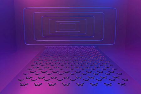 3D metal podium with corrugated stars leading to a rectangular portal in neon pink and blue light Stock fotó