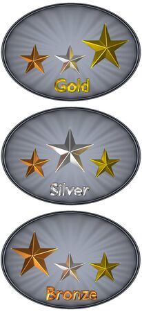 isolated 3D oval grey metal plate with corrugated stars bronze, silver and gold on it. Concept: quality, award or order levels. 版權商用圖片
