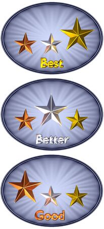 isolated 3D oval grey metal plate with corrugated stars bronze, silver and gold on it. Concept: quality, award or order levels.