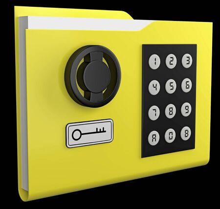 3D yellow folder with documents closed with code safe with black panel of digital code set and round rotary handle isolated on black. Concept: information protection, security, password authentication