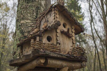 Charmant nichoir en bois attaché à un tronc de bouleau fait de planches et de brindilles avec toit à double niveau, mangeoire-balcon, clôture de brindilles tressées sur fond flou de forêt. Concept : soins aux animaux sauvages