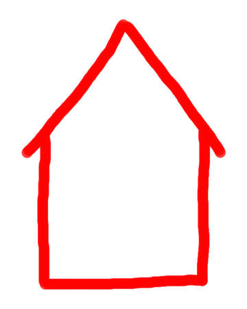 unoccupied: Crude red finger painting of house in red on white background. Stock Photo