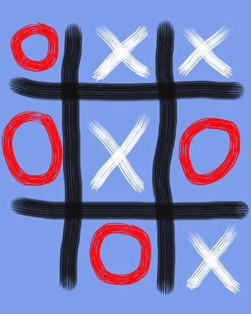 Unfinished game of tick tack toe on blue background.