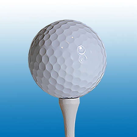 tee off: Close-up of golfball on tee isolated against blue gradient. Stock Photo