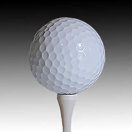 golfball: Close-up of white golfball on tee against black gradient. Stock Photo
