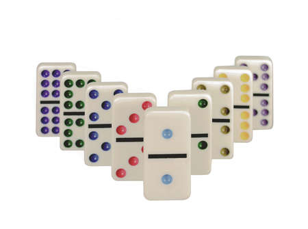 Dominos with colorful dots isolated on a white background. Imagens