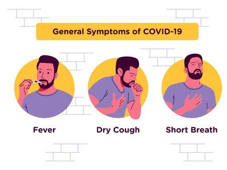General Symptoms Covid 19 Vector illustration Illusztráció