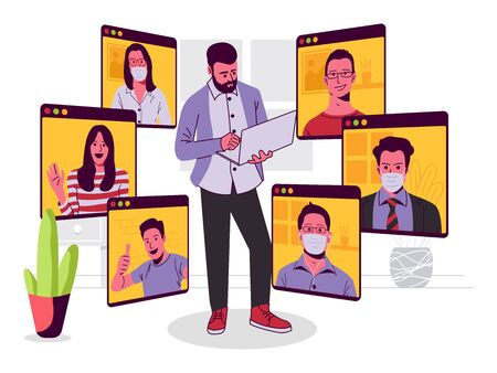 Online Conference Meeting Vector illustration