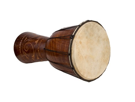big exotic african drum isolated on white background photo