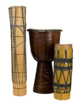 african drums: old exotic african drums isolated on white background Stock Photo