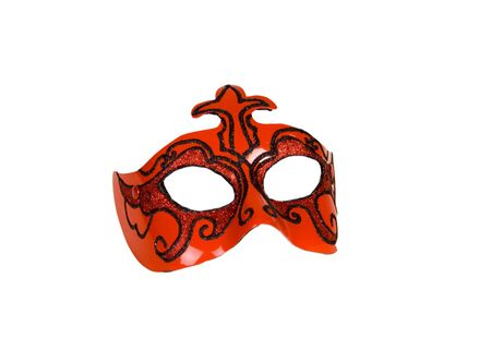 perfomance: red italian carnaval mask for perfomance isolated over white