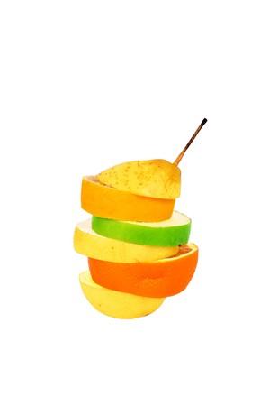 multy: multyfruit containing pear apple orange isolated over white