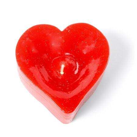 bougie coeur: bougie coeur isol� sur blanc Banque d'images