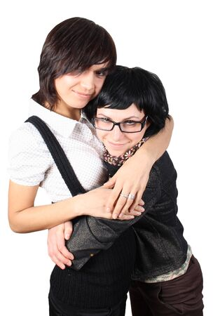 two funny girls isolated over isolated  photo