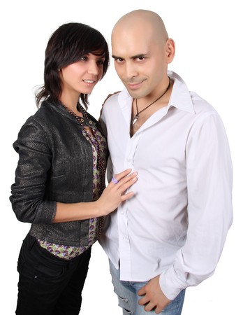 bald handsome man and pretty brunette isolated over isolated photo