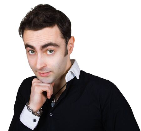 modest: handsome modest man isolated over white Stock Photo