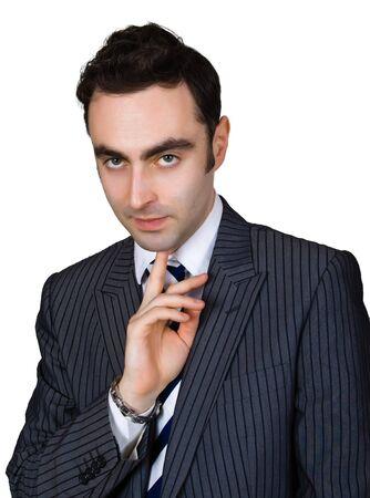 mafioso: thinking businessman isolated over white