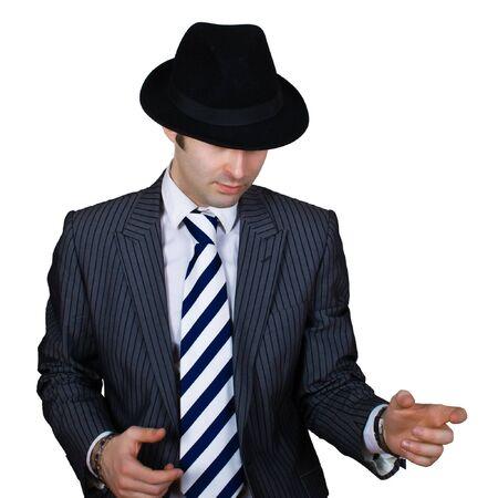 mafioso: retro mafioso ready to shoot isolated over white