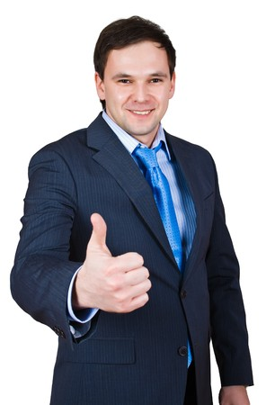 businessman show thumb up sing isolated over white with path Stock Photo - 4439046