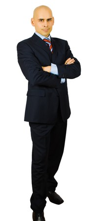 hansome: portrait of hansome businessman fold his arms isolated  Stock Photo