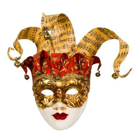 joker: m�scara de carnaval veneciano con campanas aislado m�s de blanco con saturaci�n camino