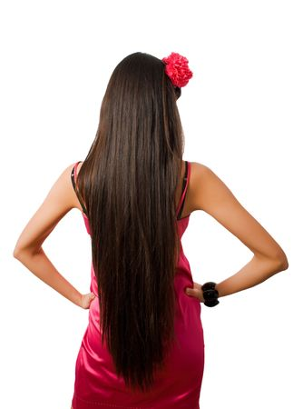 back of slim female with long hair isolated over white  photo