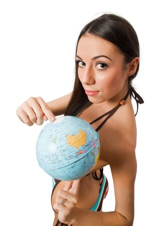 young female pointing at globe isolated Stock Photo - 4777606