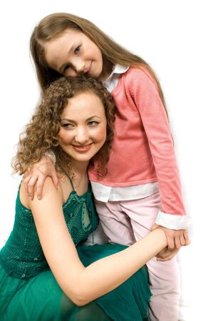 mam: happy mam and daughter isolated on white