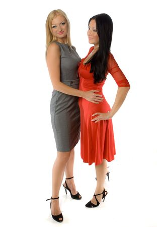lesbian love: couple of hot ladies isolated