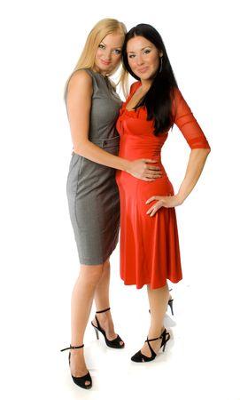 lesbiana: par de se�oras calientes aisladas Foto de archivo
