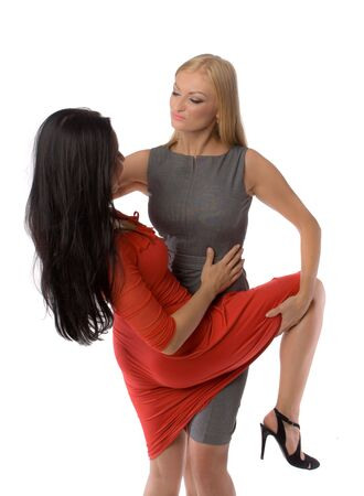 couple of hot ladies isolated photo