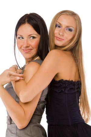 lesbische m�dchen: Embracing Freundinnen isolated on white Lizenzfreie Bilder