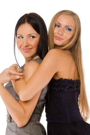 lesbians: embracing girlfriends isolated on white