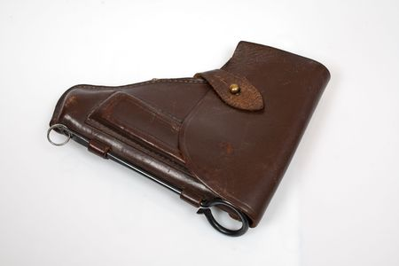 millitary: brown case for makarov pistol isolated on white