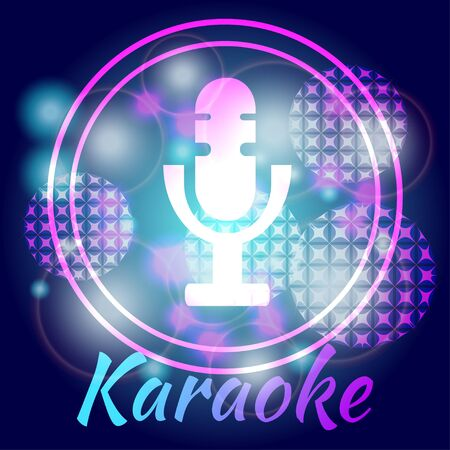 Microphone against a bright background. Karaoke party, great for banners, posters and invitations.