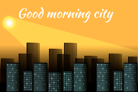 Sunrise over the city. Cityscape in the morning. Good morning 向量圖像