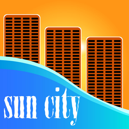 Sun city. Sunset City view.