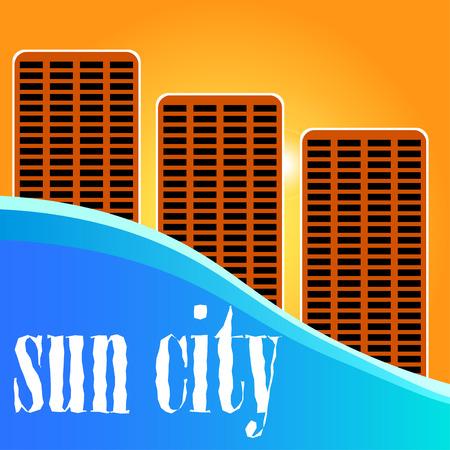 city view: Sun city. Sunset City view.