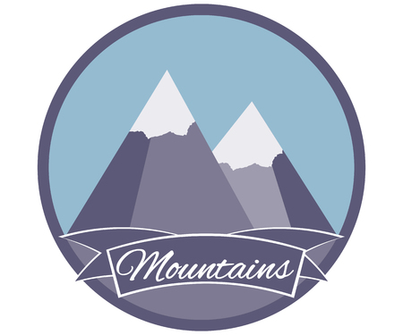 Snow-covered mountain peaks, icon, label.