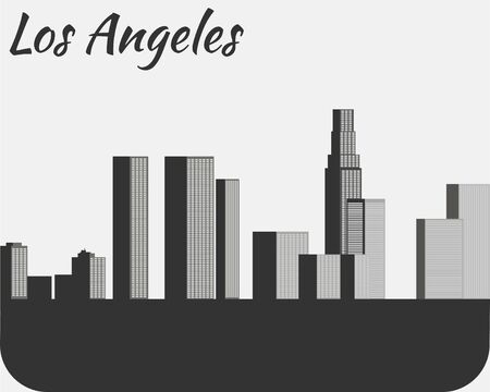 black outline: Los Angeles city silhouette. View of the city. Landscape. Black and white outline Illustration