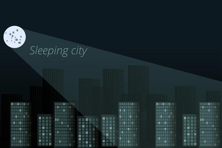 night city: Sleeping city. City in moonlight. Night city panorama Illustration