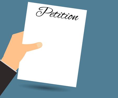 renuncia: La petici�n de mano. Ilustraci�n del vector en un estilo plano. Elemento de dise�o.