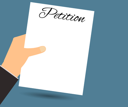 formal signature: The petition in hand. Vector illustration in a flat style. Design element. Illustration